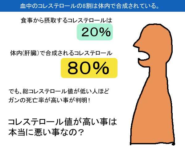 コレステロールの8割は体内合成されている.